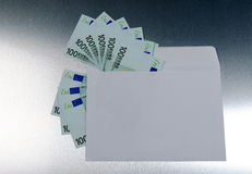 100 euros from the envelope Stock Photos