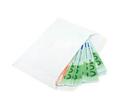 Euros in an envelope isolated over white Stock Images
