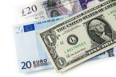 Euros et livres du dollar Images libres de droits