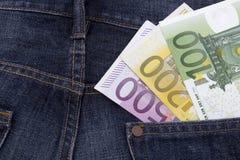Euros (EUR) dans une poche Photos libres de droits