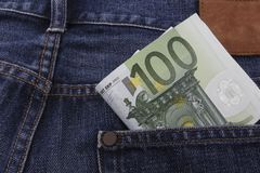 Euros (EUR) notes in a pocket. Of a pair of blue jeans Royalty Free Stock Photos