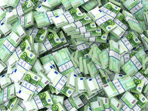 Euros. Euro. Background from packs off money. 3d vector illustration