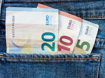 Euros. Euro banknotes in the pocket Royalty Free Stock Photo