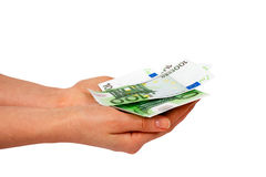 Euros on female's hands Stock Photography