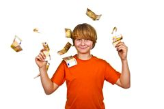 Euros flying around a boys head Royalty Free Stock Image