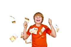 Euros flying around a boys head Stock Photography
