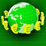 Euros Forex Means Worldwide Trading And Earth Stock Image