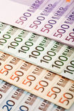 euros för closeupvalutaeuropean Royaltyfria Bilder