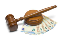 Euros and Gavel stock photo