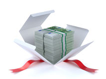 Euros in the gift box Royalty Free Stock Photo