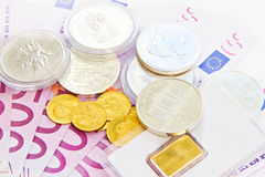 500 euros, gold and silver Stock Photos