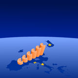 Euros graph on Euroland Stock Image