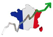 Euros graph on France map flag Stock Photo