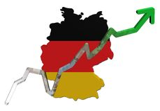 Euros graph on Germany map flag Stock Photography