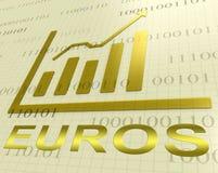 Euros Graph Increasing Shows European-Forex het 3d Teruggeven stock illustratie