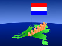 Euros graph on Netherlands map Royalty Free Stock Image
