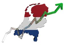 Euros graph on Netherlands map flag Royalty Free Stock Photography