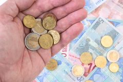 Euros in a hand Royalty Free Stock Photography