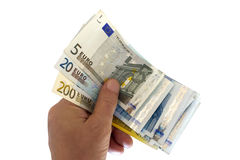 Euros in hand. Royalty Free Stock Image