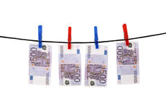 Euros hanging on a rope Royalty Free Stock Photos