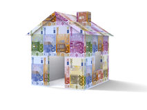 Euros house. 3D house made from euros on white background Stock Photo
