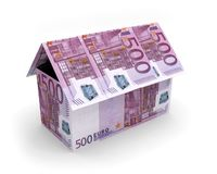 Euros house banknotes 3D. Illustration Royalty Free Stock Photography