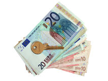 Euros and house key Royalty Free Stock Image