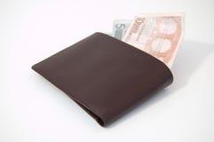 Euros i en plånbok royaltyfri fotografi
