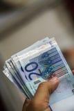 Euros i hand Arkivfoton