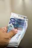 Euros i hand Royaltyfri Fotografi