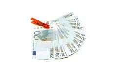 Euros ilegales del efectivo del blanqueo de dinero Fotos de archivo