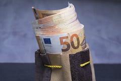 Euros im Beutel Lizenzfreie Stockbilder