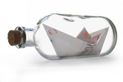 Euros inside message bottle Stock Images
