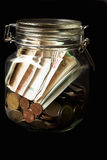 Euros in a jar Stock Image