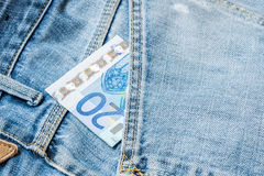 20 Euros on the jeans Royalty Free Stock Image