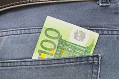 Euros in Jeans Pocket Royalty Free Stock Photos