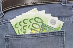 Euros in Jeans Pocket Royalty Free Stock Photo
