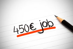 450 euros job written on paper. And underline in orange stock illustration