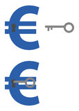 Euros with keyholes and key unlocking Royalty Free Stock Image