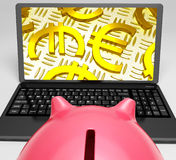 Euros Laptop Screen Shows Euro Currency Symbol Royalty Free Stock Photo