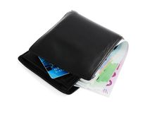 Euros in leather wallet. Euro banknotes and credit card in black wallet, white background Stock Photography