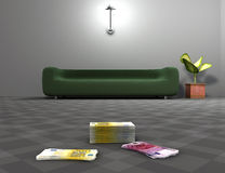 Euros on living room floor Royalty Free Stock Image