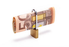 Euros locked. Fifty euros with a padlock Stock Images