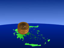 Euros on map of Greece. Stacks of Euro coins with map of Greece illustration Stock Photos
