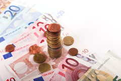 Euros Money coins and banknotes  Royalty Free Stock Images