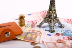 Euros Money coins and banknotes Royalty Free Stock Photo