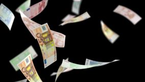 Euros Money Falling auf Schwarzem mit Luma Matte Seamless Loop 4K stock footage