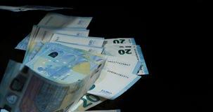 Euros money falling,. Slow motion 4K stock footage