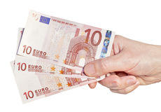 Euros money in hand Stock Image