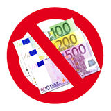 Euros in no entry sign. Different denominational Euro banknotes in red not entry sign, isolated on white background vector illustration
